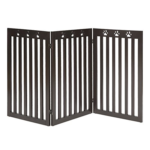 UniPaws- Freestanding Paw Deco 36'' Tall Dog Gate Indoor (Espresso) | Up to 60'' Wide | Assembly-Free | Sturdy Wooden Structure | Foldable Design by UniPaws Pet