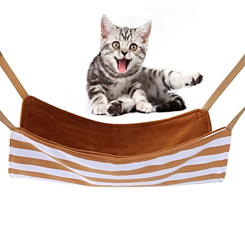 (Stylish Pet Cat Hanging Bed Hammock Comfy Swing Bed - Small Animal Sleep Hanging Bed Soft Comfy Cage Bed for Ferret Kitty Puppy Bunny (Small,)