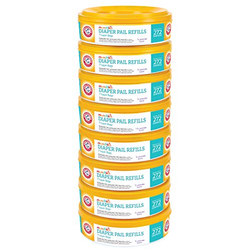 51snfZT7rVL - Munchkin Arm And Hammer Diaper Pail Refill Rings (8 Refills Of 272 Count Each), 2,176 Count