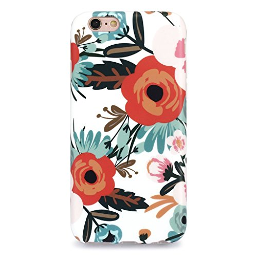 iPhone 6S Plus Case for Girls/iPhone 6 Plus Floral Case, GOLINK Matte Floral Series Slim-Fit Anti-Scratch Shock Proof Anti-Finger Print Flexible TPU Gel Case for iPhone 6s/6 Plus - Orange ()