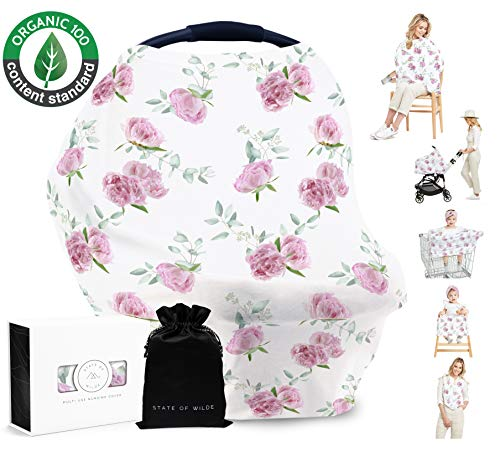 Organic Cotton Nursing Cover for Breastfeeding, Peony Floral, Baby Shower Gift, Multi Use Stretchy Canopy Cover Ups for Baby Car Seat Shopping Cart High Chair Stroller (Toddler Seat Cover Car Floral)