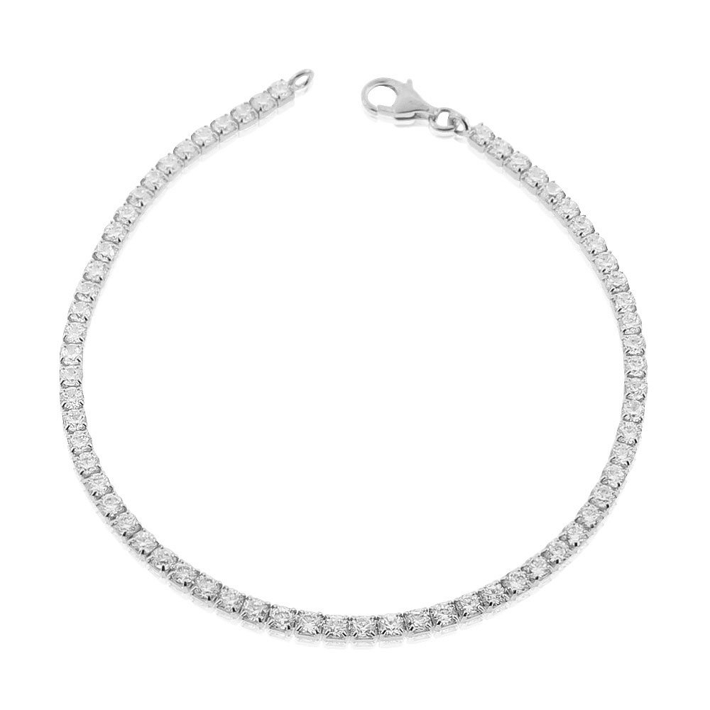 925 Sterling Silver White Clear Round CZ Classic Tennis Bracelet, 7.25''