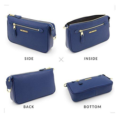 Milisente Crossbody Navy Genuine Leather Purse Blue Women Crossbody Bags Clutch Zipper Pocket q7x1qrwn