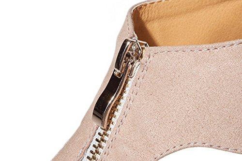 AgooLar Women's Solid Microfiber High Heels Open Toe Zipper Sandals Pink s9Ujy9