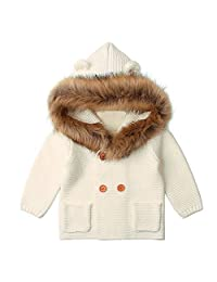Oldeagle Autumn Winter Warm Hooded Knitted Tops Jacket Coat for Baby Boys Girls Infants Toddlers
