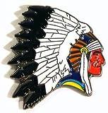 Broche en métal émaillé Motif Indien ouest Chief
