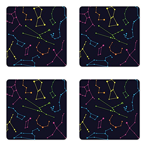 Ambesonne Constellation Coaster Set of Four, Colorful Astronomic Illustration Science Ursa Major Minor Polaris Celestial, Square Hardboard Gloss Coasters for Drinks, Multicolor
