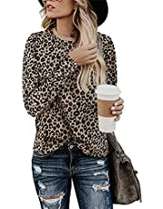 BMJL Women's LeopardPrint Tops CrewNeckTShirt Short Sleeved Casual Shirt