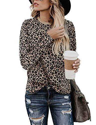 BMJL Women's Casual Cute Shirts Leopard Print Tops Basic Short Sleeve Soft Blouse (Large, Long Sleeve &leopard01)
