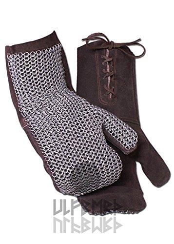 Kettenfäustlinge, ID 6mm unbehandelt von ULFBERTH, braunes Leder Kettenhandschuhe Kettenhemd