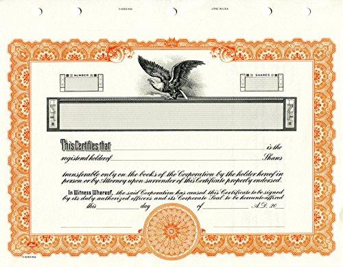 KG 4 Stock Certificate, Orange, Pack of (Company Stock Certificate)