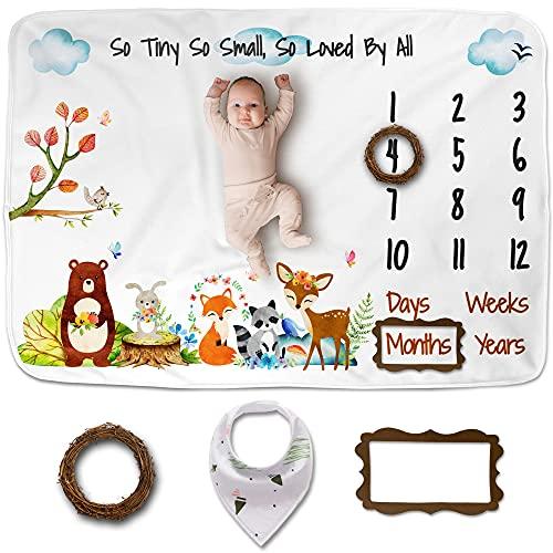 Luka&Lily Baby Monthly Milestone Blanket Boy, Girl | Woodland Nursery Decor for Baby Shower | Baby Bear Month Blanket, Milestone Blanket Baby Boy, Baby Boy Gifts, Soft Baby Blankets for Girls | 60×40