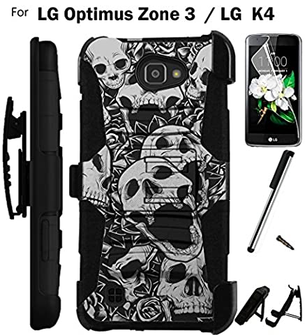 For LG Optimus Zone 3 Phone Case (Verizon) Armor Hybrid Rugged Silicone Cover Kick Stand LuxGuard Holster+LCD Screen Protector+Stylus (Skull (Lg Optimus Cell Phone Holster)