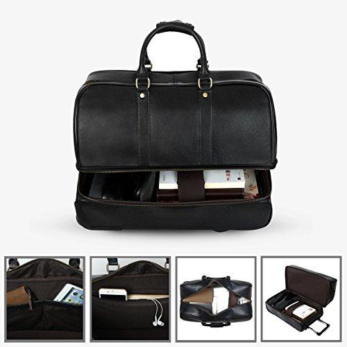 Leathario Men's Leather Luggage Wheeled Duffle, Leather Travel Bag (Black) by Leathario (Image #4)