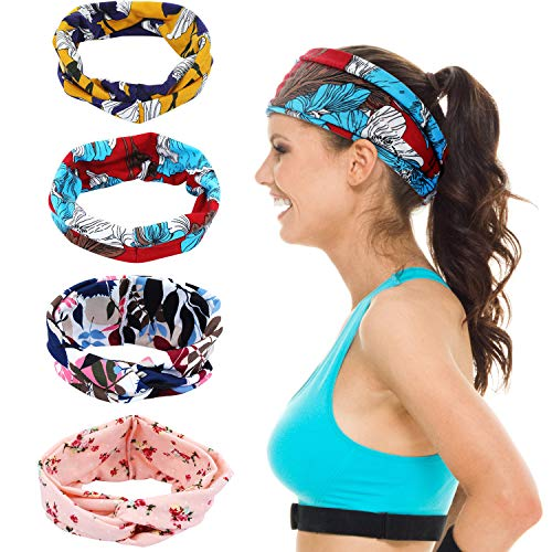 MAQUITA 4 Pack headbands for Women Boho Criss Cross Hair Bands Yoga Workout Button Headbands Tropical Flower Turban Headband Fashion Hair Accessories