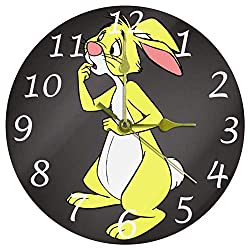 ANINILY Winnie The Pooh Rabbit Round Wall Clock, 9.8 Inch Battery Operated Quartz Analog Quiet Desk Clock for Home,Office,School