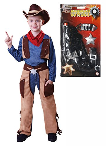 Party Central Boys Cowboy Fancy Dress Costume With Gun Age 4 - 9 (4-5 Years) -