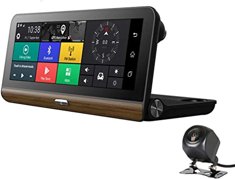 "8/"" FHD Android 5.1 Car Dash Cam 4G WiFi ADAS Dual Lens DVR Camera GPS BT Video"
