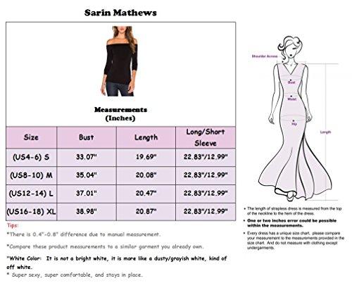Elástico Sarin Fit Tops Hombro Sexy Off Mathews Slim Sl burgundy Blusa Larga Manga Mujer Camiseta SCXwqSr