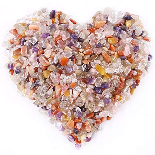 Hilitchi Mixed Colors Stones Quartz Tumbled Chips Stone Crushed Crystal Natural Rocks Irregular Shape Healing Home Indoor Decorative Gravel Feng Shui Healing Stones (About 1.1lb(500g)/Bag)