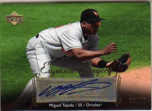 (2007 Exquisite Collection Rookie Signatures Imagery Autographs Gold #MT Miguel Tejada Autograph Card Serial #'d/10)