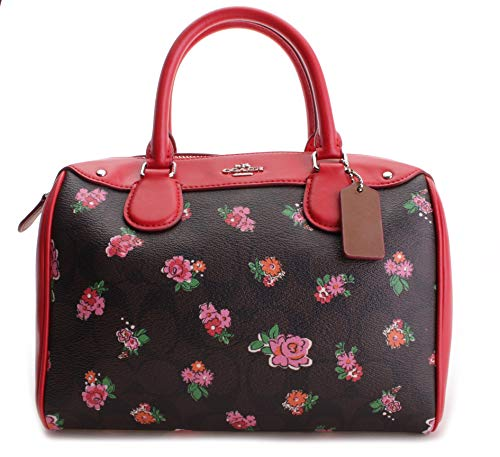 Coach Women's Signature Floral Print Mini Bennett Satchel No Size (Sv/Brown Red Multi)