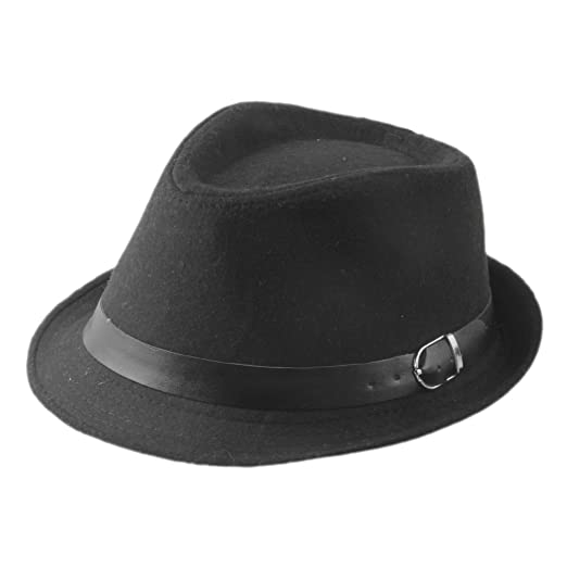 ZHENXIA Kids Boys Girls Vintage Wool Felt Fedora Jazz Cap with Belt (Black) dc33bbceb07