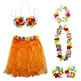 Lux Accessories Multicolor Halloween Tropical Hawaiian Lei Flower Floral Set 6PC