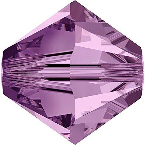 (5328 Swarovski Crystal Bicone Beads Light Amethyst | 4mm - Pack of 25 | Small & Wholesale Packs)