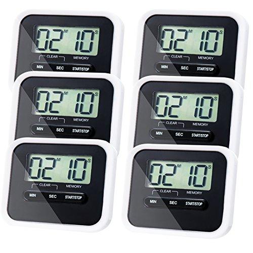 6 Pack Kitchen Timer Magnetic Digital timer Back and Retr...
