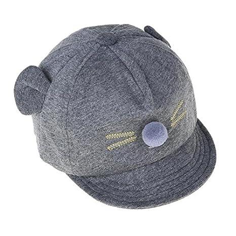 FemmeStopper Cute Cat Cotton Cap Baby Girl Baby Boy Cap Adjustable Snapback  Little Ear Baby Cap (Grey ca2c555e72a