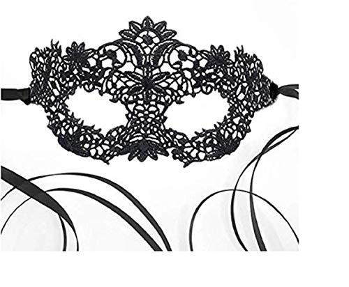 Luxury Women's Lace Masquerade Prom Halloween Carnival Mask Ball (All Black)