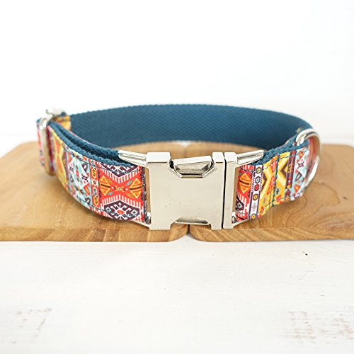 PET MASTER-UNIQUE DESINGED,ALLOY FASTENER, PET COLLAR -The BOHEMIAN,Adjustable Collars for Dogs.neck 12''-26'' … (L)