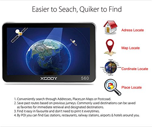 Xgody 560 - Navegador portátil para Coche con Bluetooth, GPS de 5 Pulgadas, Pantalla táctil de 8 GB, 128 MB, RAM FM, MP3, MP4, navegador de Mapa de por Vida ...