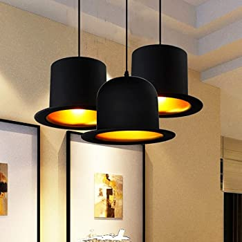 Jiuzhuo Contemporary Hat 1-Light Pendant Light in Black (Shade Style--Round Top)