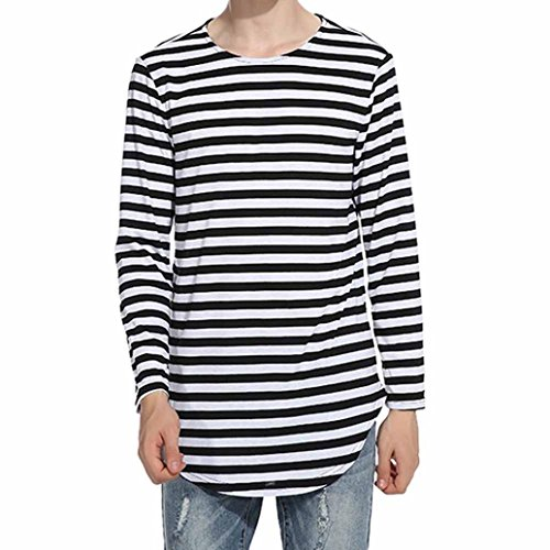 Stripe Button Hipster (Coohole Men's Autumn Winter Tops Shirt Striped Long Sleeve Casual T-Shirt Casual Stripes Blouse (Black, S))