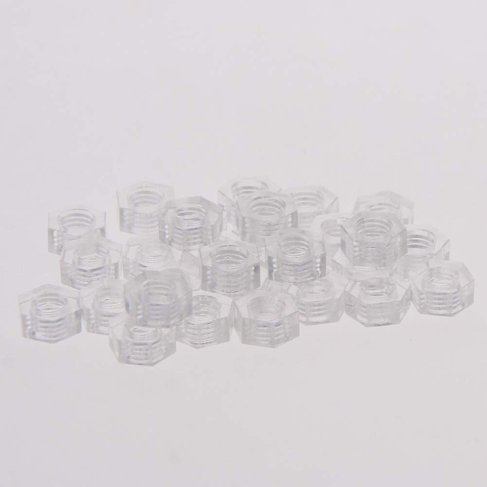 MroMax 50Pcs M4x0.7mm Thread Pitch Nylon Acrylic Hexagon Fastener Hex Full Nuts Metric Hex Nut White Transparent