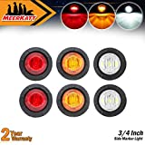 Meerkatt-Pack-of-6-34-Inch-Round-2-Amber--2-Red--2-White-LED-Small-Mount-Button-Clearance-Lamp-Mini-Side-Marke