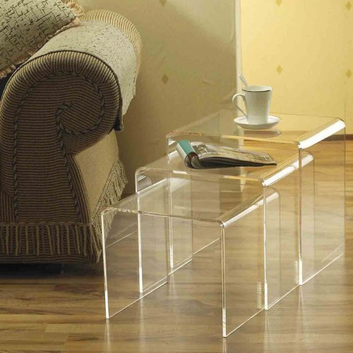 HomCom 3pc Acrylic Stackable Nesting End Side Tables   Clear