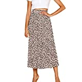 PASATO Women Elastic Waist Leopard Skirt Vintage A-line Loose Long Skirt Swing(Khaki,M=US:S)