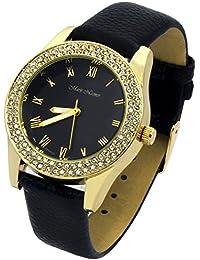 Ladies Gold Tone Black Leather Band Fashion Casual Quartz Wrist Watch Watches Mark Naimer