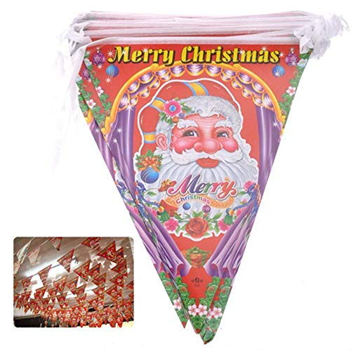 Viet-GT Pendant & Drop Ornaments - String of 80 Colorful Santa Claus Pattern Merry Christmas Triangle Flags Pennants 1 PCs
