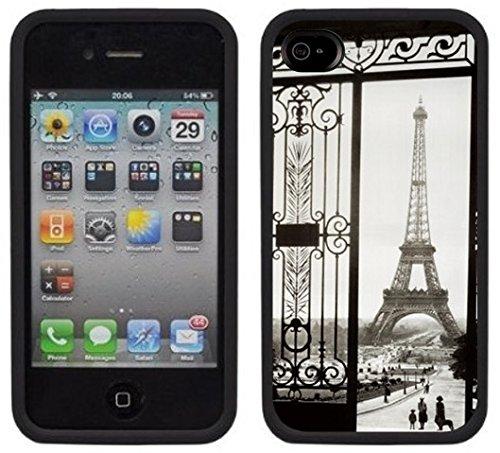 Paris Tour Eiffel   Fait à la main   iPhone 4 4s   Etui Housse noir