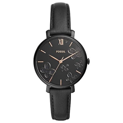 Reloj para Mujer Fossil de Cuero Negro de Tres manecillas ES4532: Amazon.es: Relojes