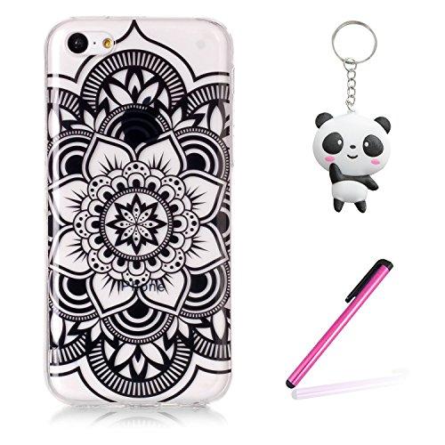 Coque iPhone 5C Fleur d'art noir Premium Gel TPU Souple Silicone Transparent Clair Bumper Protection Housse Arrière Étui Pour Apple iPhone 5C + Deux cadeau