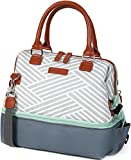 Arctic Zone 44-66077-00-08 Thermal Insulated Lunch Tote, 2 Compartments, Woven Geo - Gray/White