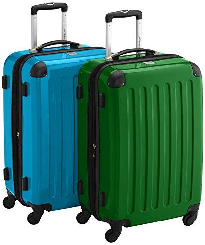 HAUPTSTADTKOFFER - Alex - 2er Koffer-Set Hartschale glänzend, 65 cm, 74 Liter, Graphit-Gelb Cyanblau-grün