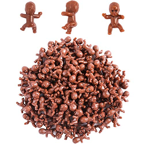 (120 Pieces Mini Plastic Babies Black Baby Shower Mini Babies Ice Cubes Tiny Babies for Baby Shower Party Game Cake Decoration, 1 Inch)