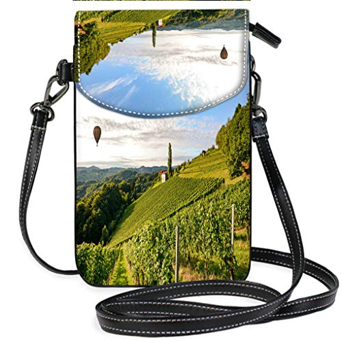 High-end Fashion Microfiber Crossbody Bag Vineyards with hot air Balloon Near a Winery Before Harvest in The Tuscany Wine Growing Area Italy Europe Multifunction Travel Crossbody Purse Wallet