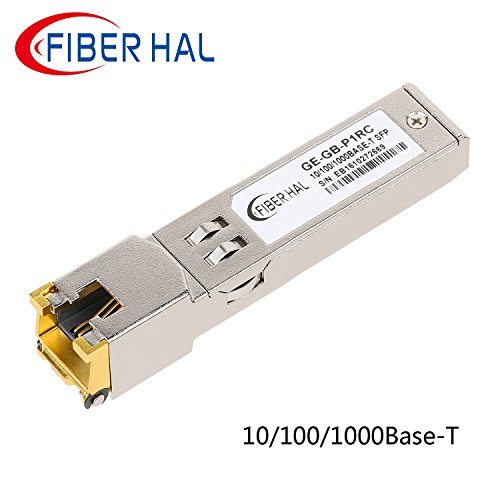 FiberHal for Cisco GLC-T Copper SFP Module, Gigabit RJ45 Mini-GBIC 10/100/1000M Auto-Negotiation Data Rate, 1000Base-T SFP Transceiver, Reach - Transceiver Max Multi